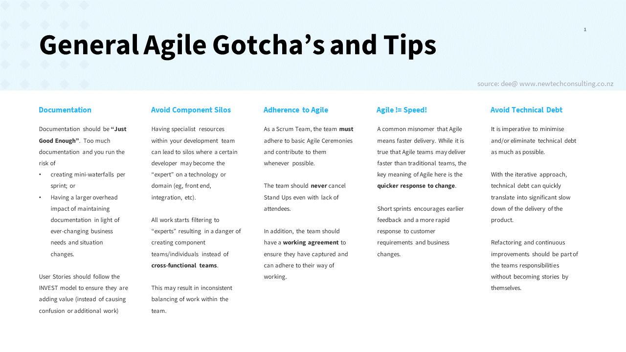 Agile Hints And Tips - Newtech Consulting